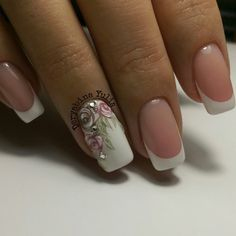 Accurate nails, Bridal nails, Exquisite nails, flower nail art, french manicure with a flower, ring finger nails, Square french nails, Square nails