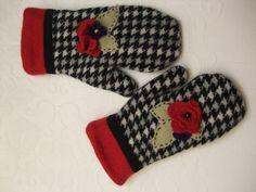 Handmade upcycled wool mittens
