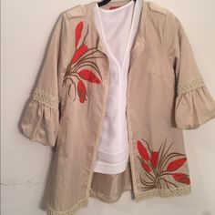 Saint Gil Paris lined  long jacket size 4-6 great condition, cream tan color  with embroidery, 3/4 puffed sleeves , closes with  hook and eyes, length 31 inches, lined, side pockets that are not visible Saint Gil Jackets & Coats