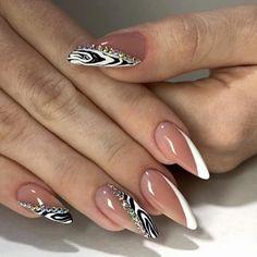 - and Beautiful Nail Art Designs Almond Acrylic Nails, Best Acrylic Nails, Trendy Nail Art, Stylish Nails, Easy Nail Art, Bling Nails, Swag Nails, Romantic Nails, Hot Nails