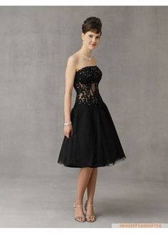 Fabulous stunning Satin Strapless Knee Length Prom Dress With Exquisite Handwork P2229