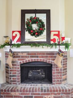 Christmas Mantel - Using a combination of real garland, new purchases, and vintage finds gives our mantel a fun, fresh look for Christmas!