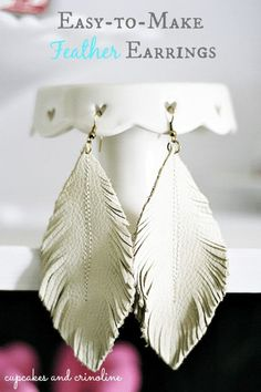 [orginial_title] – Jo Ann Brooks Make Feather Earrings from Leather Scraps How to make Feather Leather Earrings from soft leather scraps and basic jewelry making supplies. Diy Leather Earrings, Diy Earrings, Leather Jewelry, Beaded Jewelry, Handmade Jewelry, Gold Leather, Vintage Jewelry, Heart Earrings, Handmade Leather