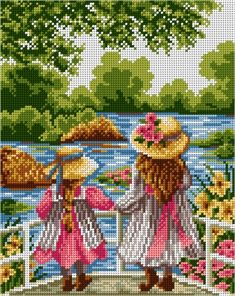 This Pin was discovered by zey Beaded Cross Stitch, Cross Stitch Flowers, Cross Stitch Embroidery, Cross Stitch For Kids, Cross Stitch Baby, Cross Stitch Designs, Cross Stitch Patterns, Cross Stitch Landscape, Vintage Cross Stitches