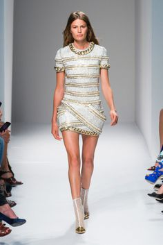 #GemSteadyLoves #Couture #Balmain What jewelry would you pair with this dreamy mini dress? Let us know at www.gemsteady.com