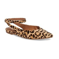 Women's Steve Madden Cupid Ankle Strap Flat ($80) via Polyvore featuring shoes, flats, leopard, pointy-toe flats, leopard flats, ankle strap flat shoes, ankle strap flats and pointed toe leopard flats