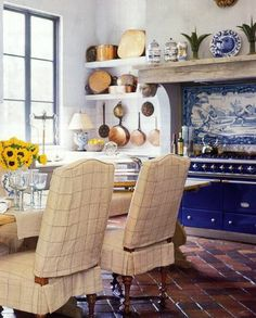 i like the idea of the cobalt blue stove with white tiles - nice clean color combo French Country Kitchens, French Country Decorating, French Kitchen, Kitchen Country, Country French, Country Style, Dining Chair Slipcovers, Dining Chairs, Kitchen Chairs