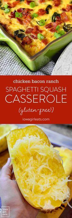 Chicken Bacon Ranch Spaghetti Squash Casserole is a flavorful fall casserole recipe. Even my squash-averse family loves this scrumptious, gluten-free dish! | iowagirleats.com