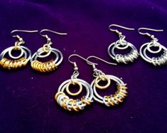 Silver & Gold Chainmaille Earrings - Aluminum - Serenity - Chainmail Jewelry