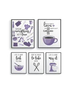 Funny Lavender Light Purple Kitchen Wall Decor, Lavender Kitchen wall art prints set, Kitchen prints, Modern Home Decor, Dining room decor