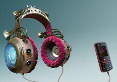 cgi print campaign series jules vern headphones created for Sony Ericsson