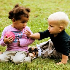 "What To Do About A Toddler Toy Taker? | Janet Lansbury= In every toddler group I've facilitated there is at least 1 child who experiments with taking toys from peers. With infants and younger toddlers especially, it is often a social gesture, a way to 'play together', to say, ""Hi!"" or What have you got there?"" or ""The way you are moving that toy around is intriguing. I'm going to check it out."" There is a tentative reach for the object, in some cases a quick grab, a stru"