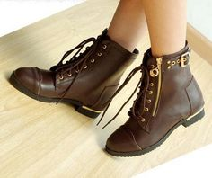 lace up leather brown boots ankle flat - Google Search