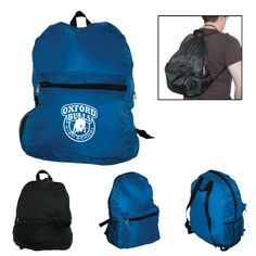 Basic promotional school bag made of 210 denier polyester. Backpack features large main compartment with zipper closure. Large front zip pocket and open side mesh pocket. Includes 2 adjustable straps and hang loop carry handle at top.