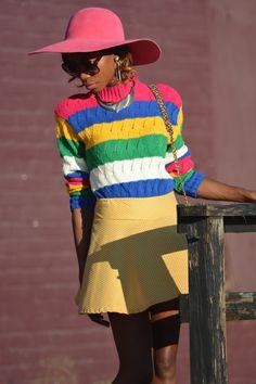 "80's Vintage ""LIZ WEAR PETITE"" Pinstripe Multi Color Sweater Sz: Small"
