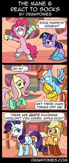 Comic: Mane 6 React To Socks (With Dialogue) by drawponies