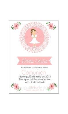 DIY Printable- Girl First  Communion  Invitation
