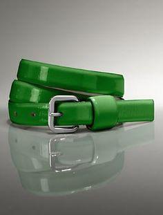 Green Crinkled Patent Leather Skinny Belt
