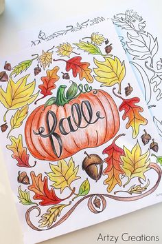 12 Fall Coloring Pages for Adults - Pumpkin and Leaves