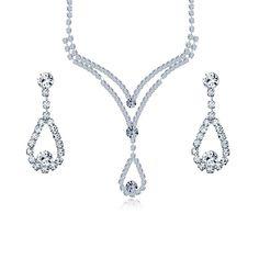 Bridal Teardrop Crystal Silver Plated Necklace Earrings Set | eBay
