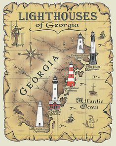 Lighthouses of Georgia Map T-Shirt Lighthouse Pictures, Lighthouse Art, Scenic Photography, Landscape Photography, Night Photography, Landscape Photos, Beacon Of Light, Water Tower, Am Meer