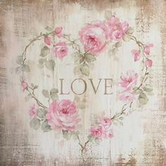 """Love"" Roses Heart Sign Cottage Framed On Wood by Debi Coules"