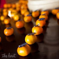 Clementine escort cards. So different and so cool!