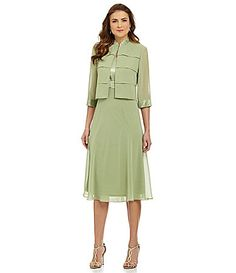 Le Bos MandarinCollar Jacket Dress #Dillards,,, Not sure about the color, another excellent Spring dress for the mother of the bride.