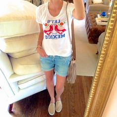 tshirt, jean shorts, fringe bag, flats // casual C.Style Blog: Everyday Outfits