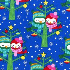 FABRIC 2015 CHRISTMAS LOVEBIRDS Blue from by DorothyPrudieFabrics