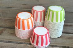 Striped Candy/Baking Cups - Orange, Soft Red, Vintage Pink, Apple Green. $4.25, via Etsy.