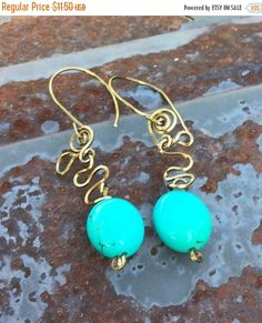 Christmas in July Free form Brass Wire and Genuine Turquoise Nugget Dangle Earrings