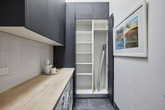 The Block 2018 Gatwick: Laundry, Powder Room, Hallway Reveals Laundry Doors, Laundry Tips, Laundry Room Appliances, Mops And Brooms, Sink Shelf, Hanging Clothes, Laundry Room Design, Glass House, Luxury Apartments