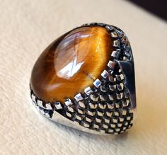 men ring sterling silver 925 cat tiger eye semi by AbuMariamJewels