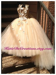 Champagne Lace Flower Girl Tutu Dress with Removable Train / Junior Bridesmaid Dress / Glitz Pageant Dress on Etsy, $170.00