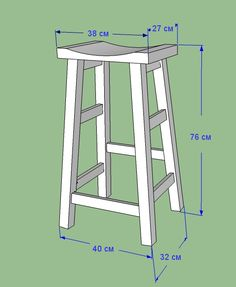 bar stool measurements by Lazy Liz on Less - Crissie Alone Home Diy Bar Stools, Diy Stool, Wood Stool, Diy Chair, Saddle Bar Stools, Wooden Projects, Furniture Projects, Diy Furniture, Plywood Furniture