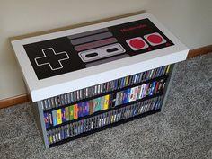 NES Nintendo Banco de mesa de café almacenamiento de juegos   Etsy Media Room Design, Game Room Design, Video Game Storage, Lego Bedroom, House Games, Goth Home Decor, Game Room Decor, Gamer Room, Kid Beds