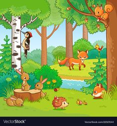 Buy Animals in the Forest by svaga on GraphicRiver. Animals in the forest. Vector illustration with cute mammals and insects in a children s cartoon style. Cartoon Pics, Cartoon Styles, Cartoon Drawings, Art Drawings For Kids, Drawing For Kids, Boy Coloring, Coloring Books, Coloring Sheets, Forest Cartoon