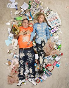 Photographer Gregg Segal's 7 Days of Garbage challenged households to be pictured lying in a week's work of their own trash to bring attention to waste in our society