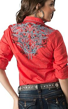 Roar Women's Orange Wild Heart with Embroidery Long - 3/4 Sleeves Western Shirt | Cavender's