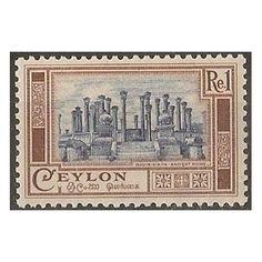 Ceylon, Ancient Ruins, 1 Rupee, 1950 MINT