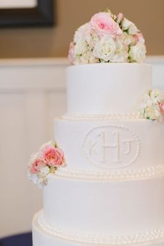 Beautiful! Love a classic white #cake with floral accents <3 {Natalie Franke Photography}
