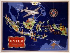 Complete Map of the Airlines of K.N.I.L.M., Royal Netherlands Indies Airways