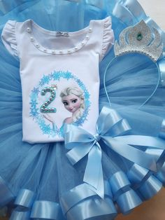 de5f159ed336d Elsa Tutu Outfit, Princess Elsa Tutu Dress, 2nd Birthday Elsa Outfit,  Frozen Birthday Outfit, Blue Tutu Outfit, Disney Birthday