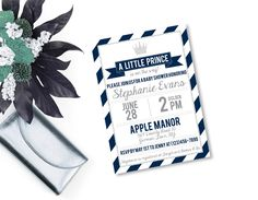 Navy and Silver Prince Baby Shower Invitation