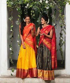 16 Silk Half Sarees That Caught Our Acute Attentions Lehenga Saree Design, Half Saree Lehenga, Indian Lehenga, Saree Look, Lehenga Designs, Saree Dress, Saree Blouse Designs, Bridal Lehenga, Saree Wedding