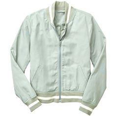Gap Women Varsity Bomber Jacket (3.470 RUB) ❤ liked on Polyvore featuring outerwear, jackets, zip front jacket, teddy jacket, college jacket, green varsity jacket and gap jackets