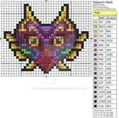 Zelda - Majora's Mask by Makibird-Stitching on DeviantArt Beaded Cross Stitch, Cross Stitch Embroidery, Malon Zelda, Beading Patterns, Embroidery Patterns, Kandi Patterns, Cross Stitch Designs, Cross Stitch Patterns, Zelda Tattoo
