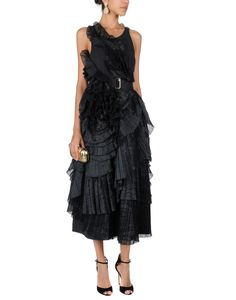 Dries Van Noten Black Rosette Pleated Maxi Dress