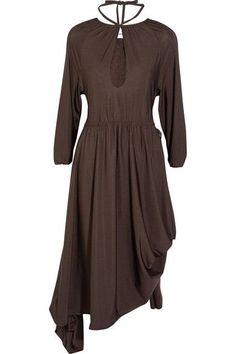 Vetements - Asymmetric Stretch-jersey Midi Dress - Dark brown - x small